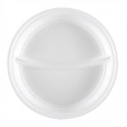 Assiettes rondes blanches 2 compartimentsx100