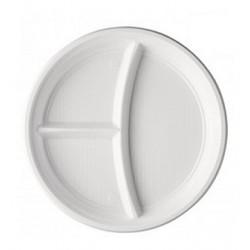 Assiettes rondes blanches 3 compartiments X100